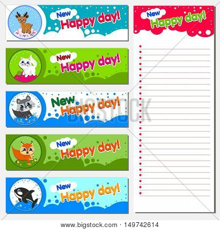 The most popular animals Vector printable cards and notes.