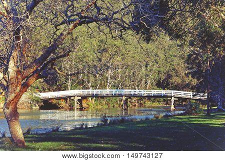 Historic wooden Varney Bridge across Kangaroo Creek at Audley, Royal National Park, Sydney, Australia