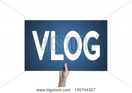 Vlog card isolated on white background. Video blogging concept.