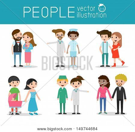 family and children ,family and kids, family life, set of Happy family, Different nationalities and dress style son white background, people character concept, African-American, Asian. European,
