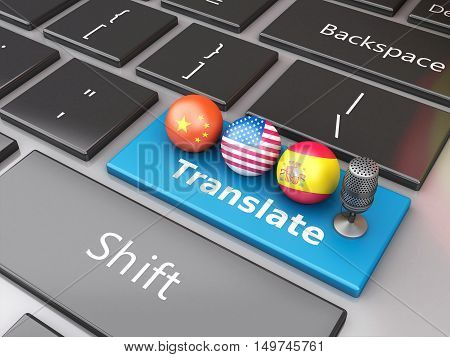 3d renderer image. Translate foreign languages on computer keyboard. Education and translation concept.