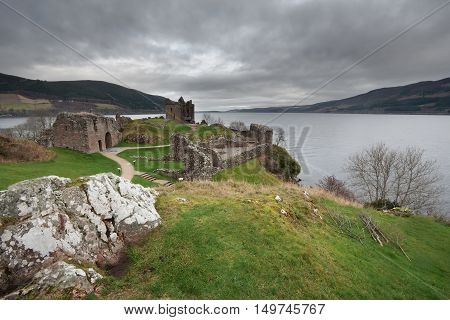 Urquhart Castle ruins and Loch Ness, Scotland
