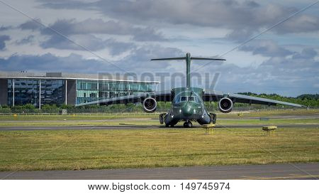 Farnborough UK - 16th July 2016: An Embraer KC-390 transport aircraft of Brazilian Airforce awaits takeoff