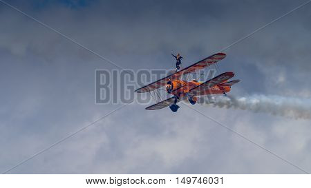 Farnborough UK - 16th July 2016: The Breitling Wing Walkers in flight