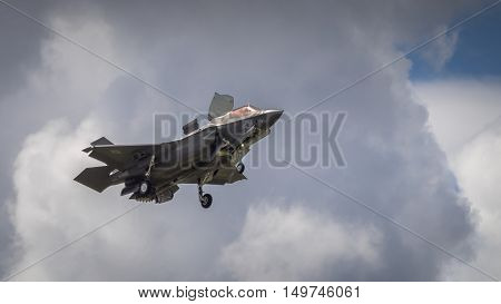Farnborough UK - 6th July 2016: Lockheed Martin F35B joint strike fighter aircraft in flight