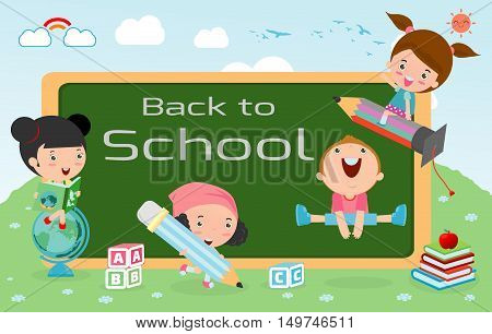 kids and blackboard, Children and board, kids education, education concept, back to school template with kids, Kids go to school, back to school, Cute cartoon children, happy children, Vector