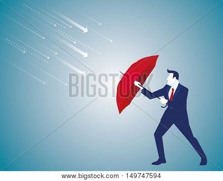 A Businessman With Umbrella Protecting. Business Concept. Vector Flat