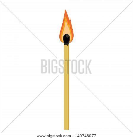 Vector illustration burning match stick isolated on white background. Burn match icon