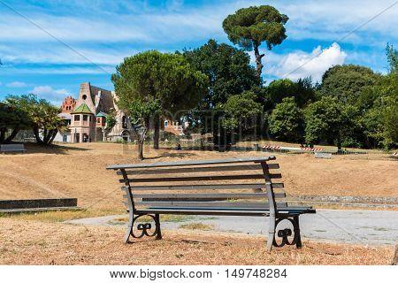 bench in front casina of civette in villa torlonia