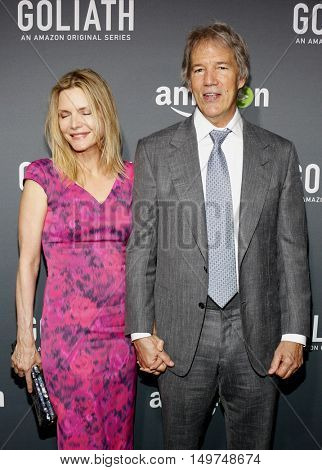 Michelle Pfeiffer and David E. Kelley at the Los Angeles premiere of Amazon's 'Goliath' held at the London Hotel in West Hollywood, USA on September 29, 2016.