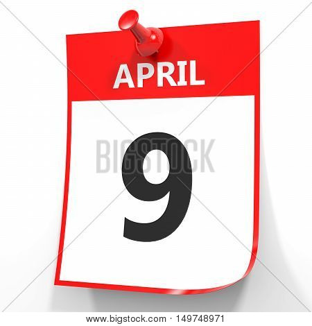 April 9. Calendar On White Background.