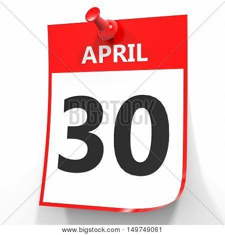 April 30. Calendar On White Background.