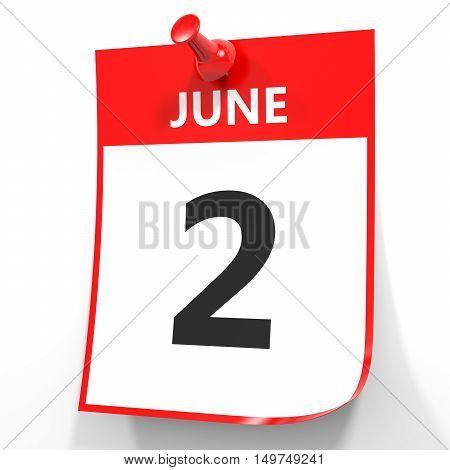 June 2. Calendar On White Background.