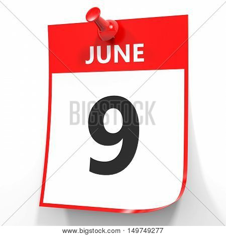 June 9. Calendar On White Background.