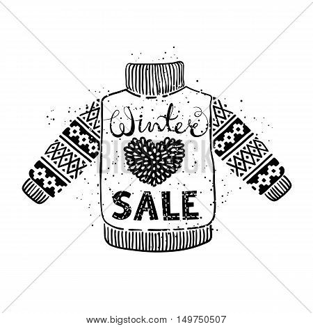 Winter Special banner or label with knitted woolen pullover. Business seasonal shopping concept sale. Isolated vector illustration.