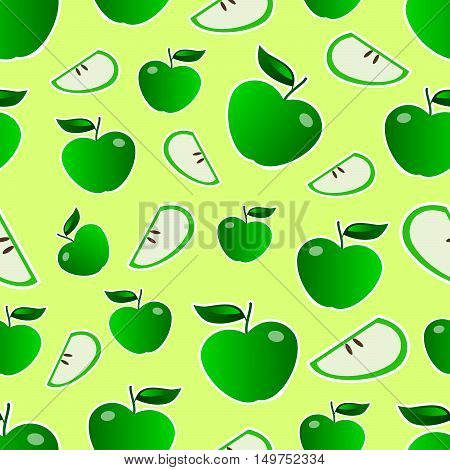 Green apples with white stroke seamless pattern on light green background vector illustration