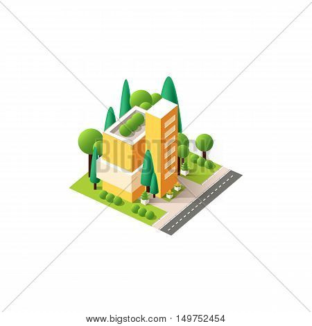 Stock vector illustration isometrics isolated capitol, administrative building with offices and arranged territory for business center on a white background