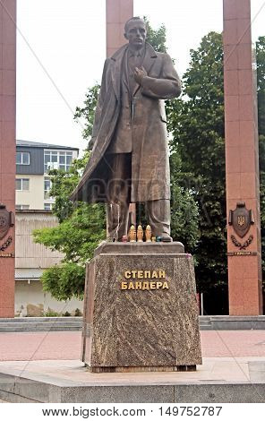 Monument to the leader of the Ukrainian nationalist and independence movement Stepan Bandera, Lviv, Ukraine