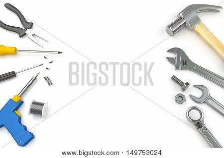 Set of tools on white background, Tools background. 3D illustration