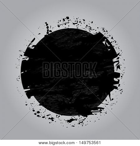 Ink Grunge Circle Shape On Grey Background. Abstract Stamps. Rou