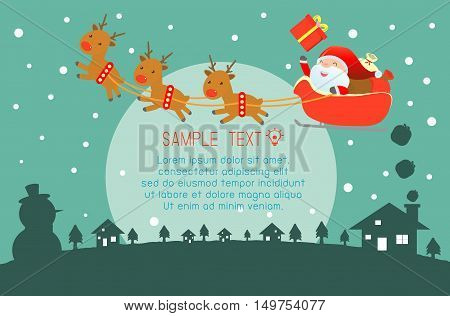 Merry Christmas, Happy new year, Merry Christmas design with wide copy space, Santa Claus,card, background card greeting, Vector Illustration