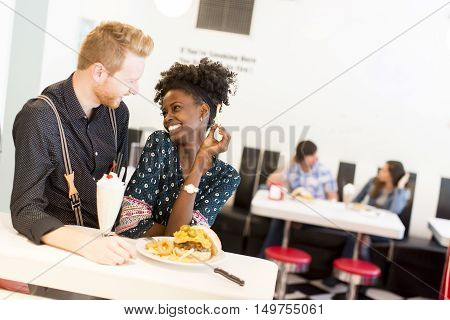 Couple Eating In Diner