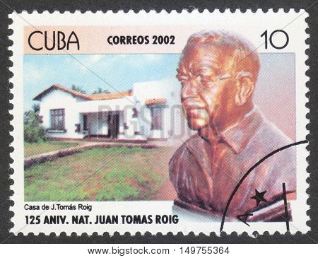 MOSCOW RUSSIA - CIRCA SEPTEMBER 2016: a stamp printed in CUBA the series 'The 125th Anniversary of the Birth of Juan Thomas Roig Botanist