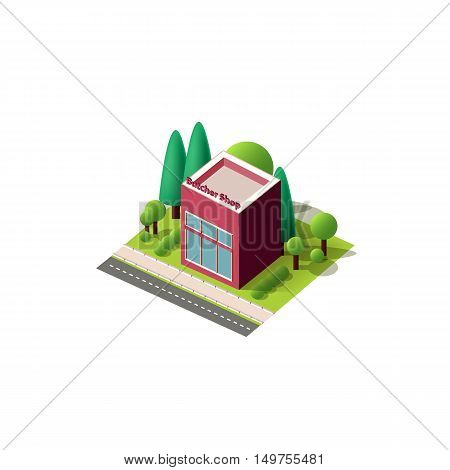 Stock vector illustration isometrics isolated Butcher shop building with arranged territory for business center on a white background
