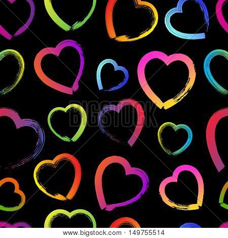 Seamless Pattern With Colorful Grunge Hand Drawn Hearts And Spot