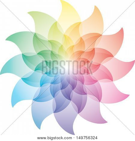 Beautiful Multicolor Lotus Flower Color Wheel Icon. Vector EPS10.