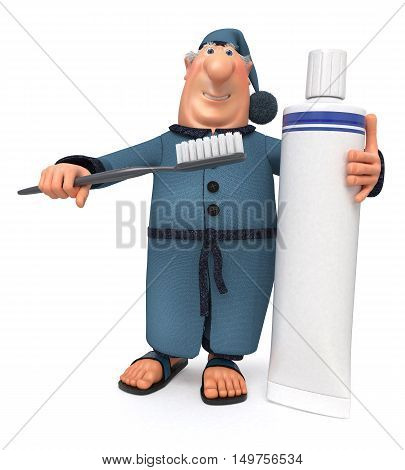The 3D Illustration Of The Cheerful Businessman With A Toothbrush