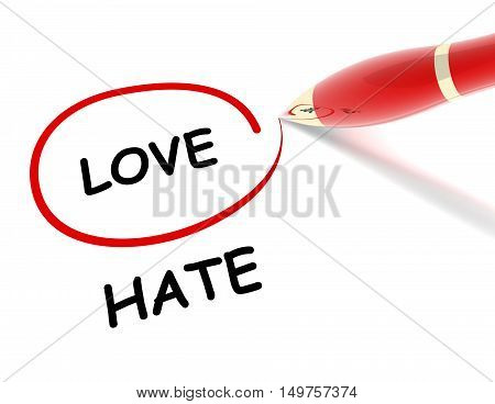 love hate 3d illustration isolated on white background