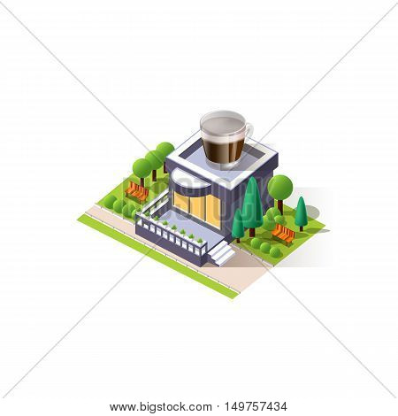 Stock vector illustration isometrics isolated coffee house building with arranged territory for business center on a white background