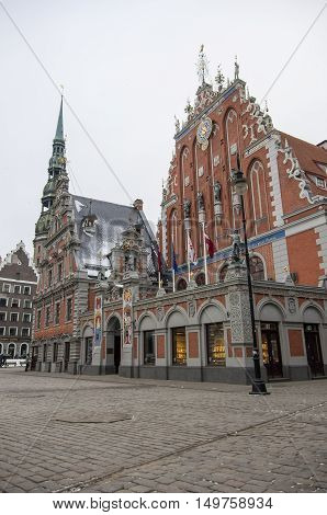 Riga, Latvia - January 1, 2016: Blackheads House on the Town Hall square Riga Latvia