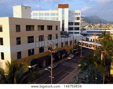 HONOLULU HI - JANUARY 12 2016: Aerial view of The Dole Cannery building on island of Oahu in the state of Hawaii. Formerly a canning complex it is now an office and retail complex that offers specialty shops superstores entertainment eateries and service