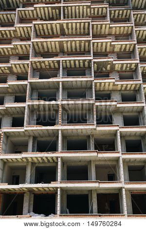 Residential or dormitory building under contstruction. Can be used as background.