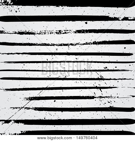 Hand drawn brushstroke lines pattern background with spots vector illustration. Abstract hand drawn background