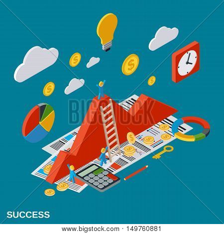 Business success, analytics, report, financial statistic, growth flat isometric vector concept illustration