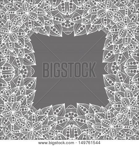 Hand drawn tribal ethnic pattern. Doodle background with doodles, flowers and leaves. Monochrome pattern.