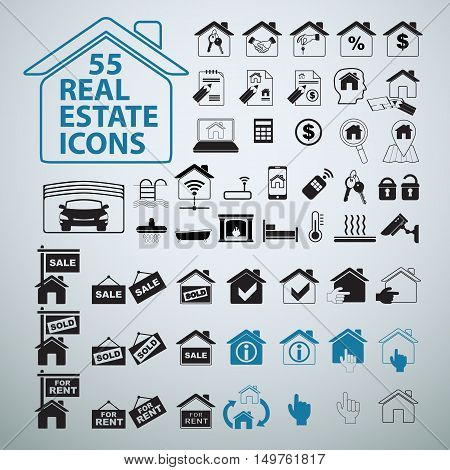 55 Real Estate icons set, vector business signs. Selling home.