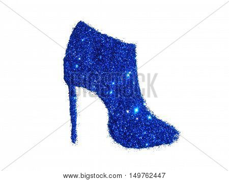 Ankle boot on high heel of blue glitter sparkle on white background