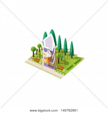 Stock vector illustration isometrics isolated Ice cream cafe building with arranged territory for business center on a white background