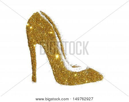 High heel shoe of golden glitter sparkle on white background