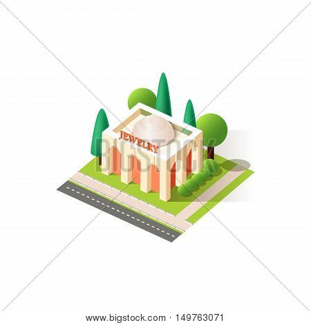 Stock vector illustration isometrics isolated jewelry store building with arranged territory for business center on a white background
