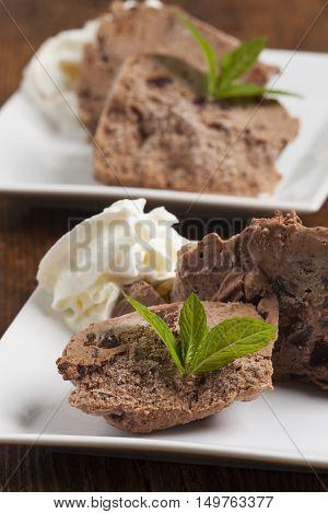 closeup of lemon balm on chocolate icecream