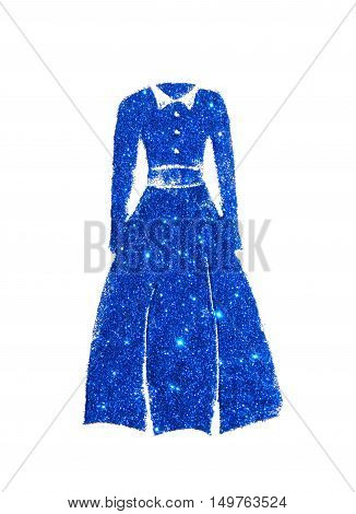 Long sleeve dress with collar of blue glitter on white background