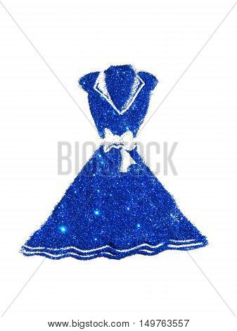 Dress with collar and bow at the waist of blue glitter on white background