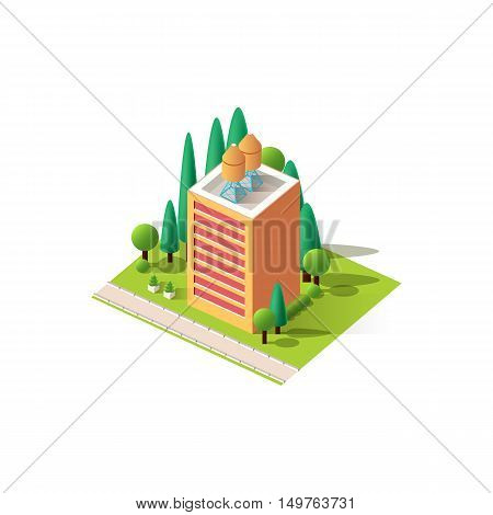 Stock vector illustration isometrics isolated multistory building with offices and skyscraper with apartments, arranged territory for business center on a white background