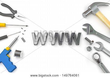 Website under construction, Building web concept. 3D Illustration