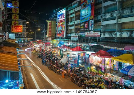 CHIANGMAI THAILAND -SEPTEMBER 272016: Night shot of Kad Luang maket. Tradition product Market for Tourist and Local people. Chiangmai thailand.